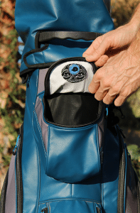 The Original Cap Magnet used inside a golf bag pocket