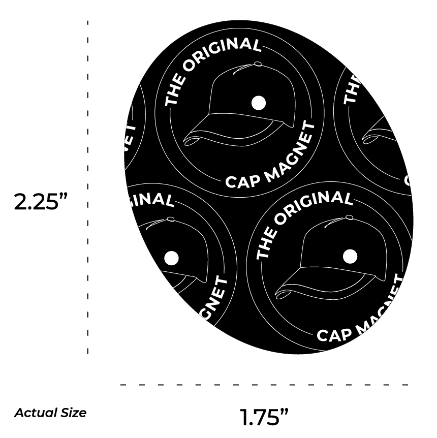 """The Original Cap Magnet is 2.25"""" tall by 1.75"""" wide"""